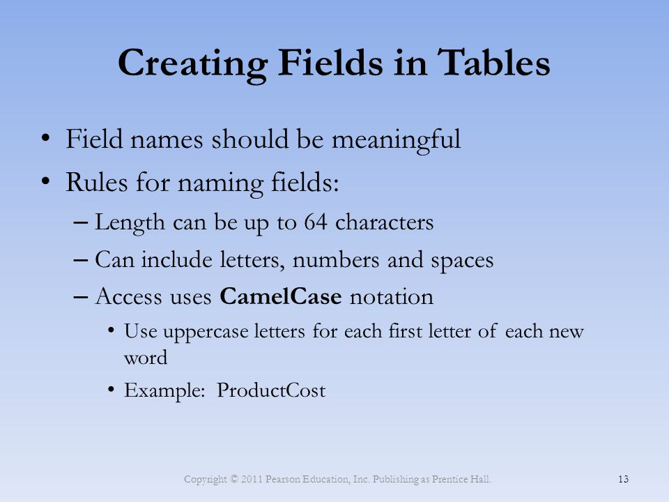 Creating Fields in Tables