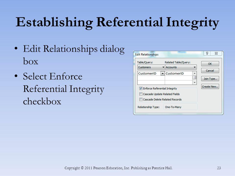 Establishing Referential Integrity