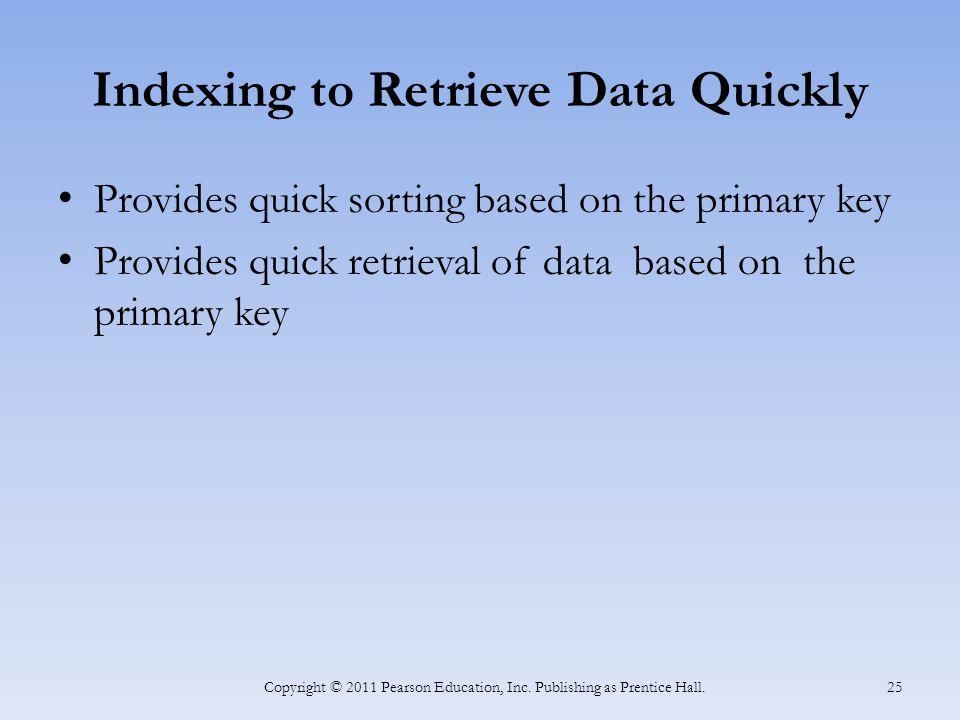 Indexing to Retrieve Data Quickly