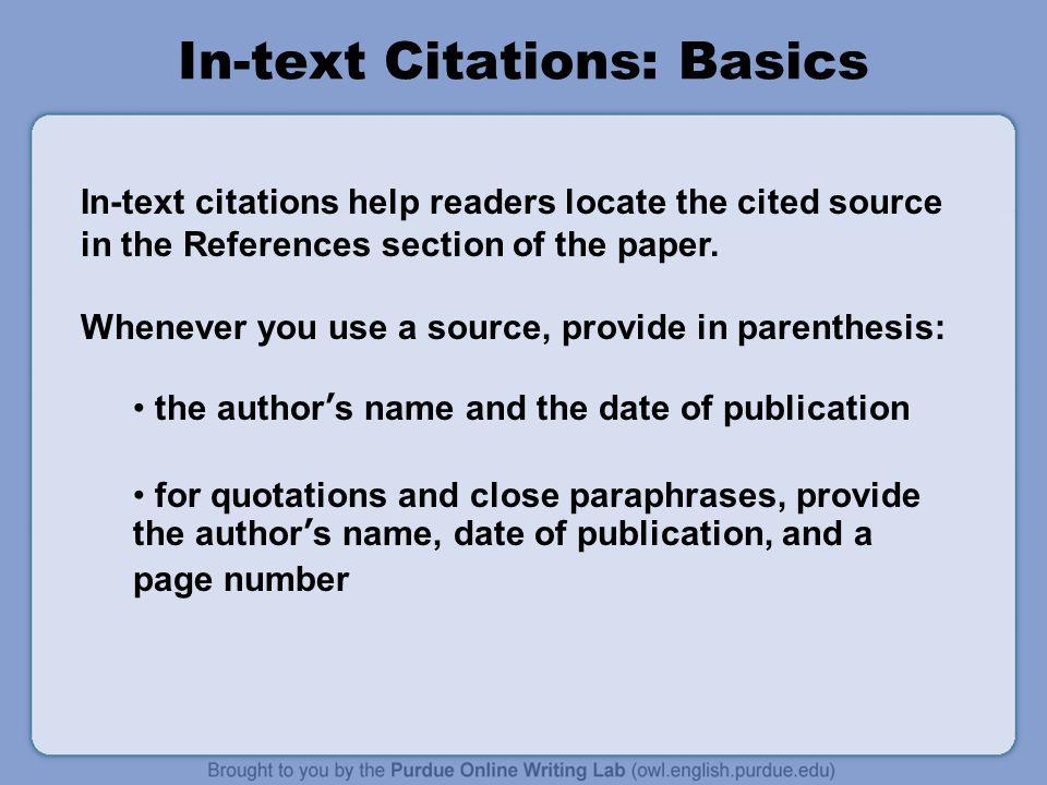 In-text Citations: Basics