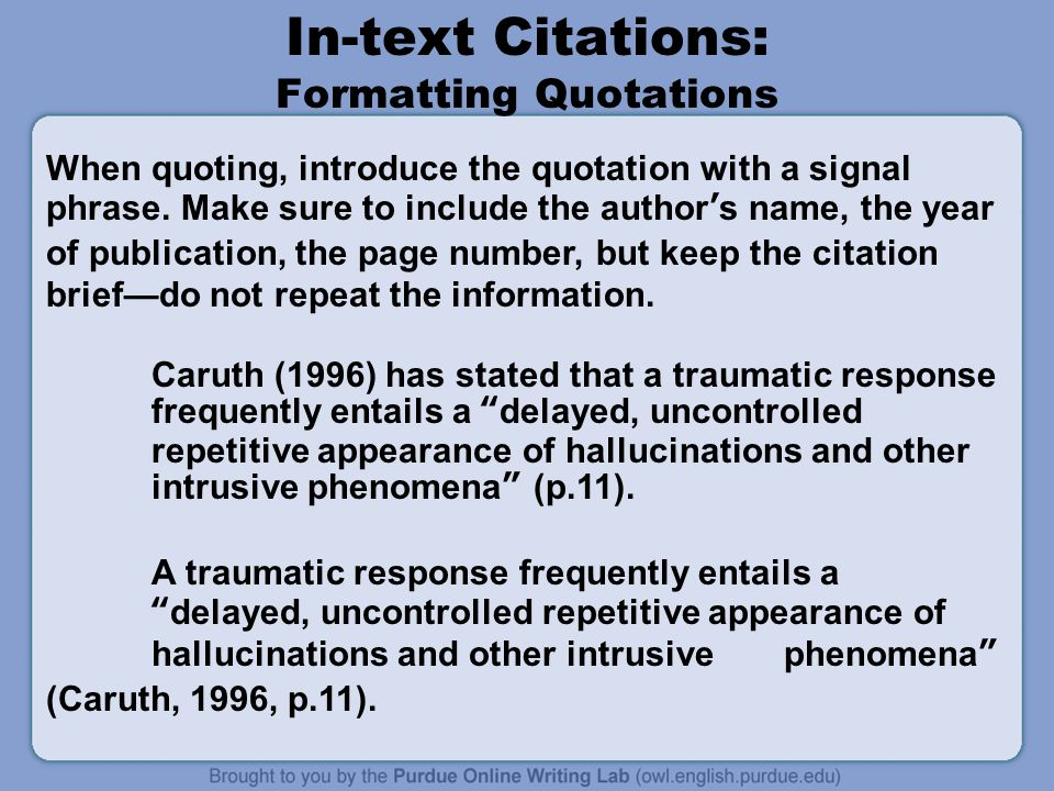In-text Citations: Formatting Quotations