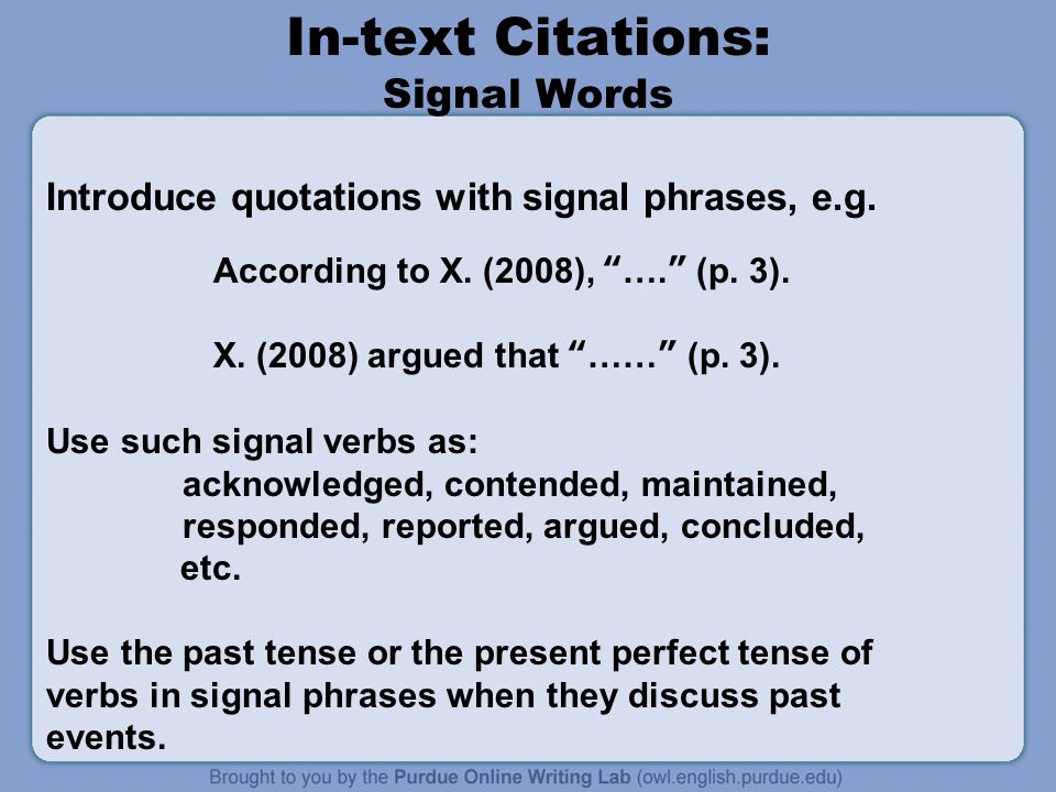 In-text Citations: Signal Words