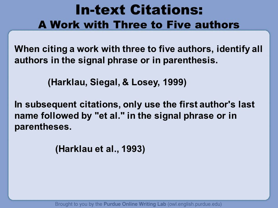 In-text Citations: A Work with Three to Five authors
