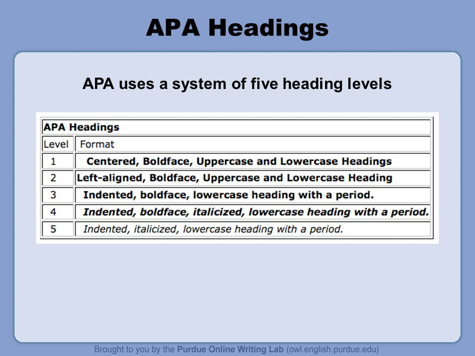 APA uses a system of five heading levels
