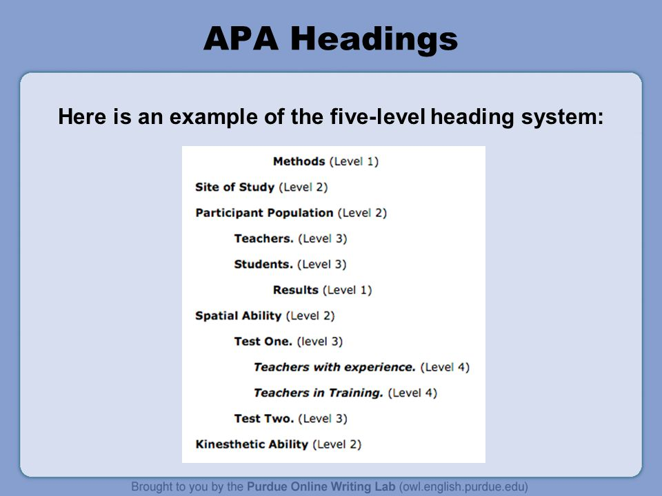 apa section headings research paper Apa headings this resource highlights updates to apa 6th edition that relate to the use of headings to separate and classify sections of an academic paper.