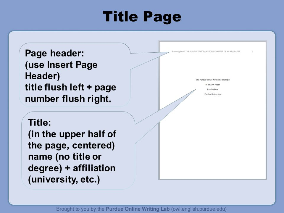 Title Page Page header: (use Insert Page Header)