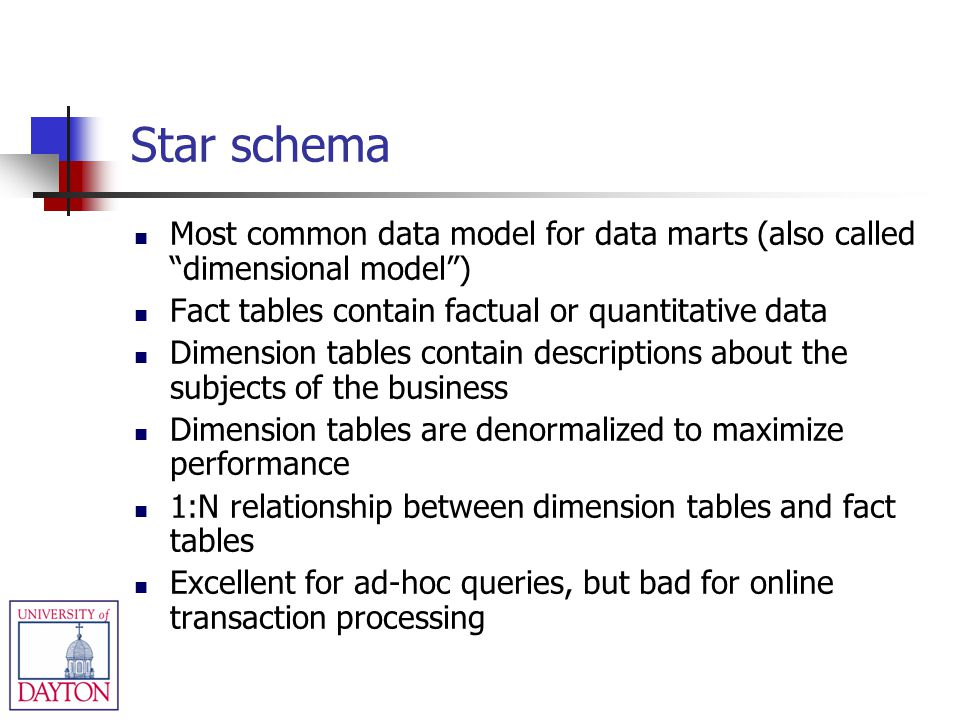 Star schema Most common data model for data marts (also called dimensional model ) Fact tables contain factual or quantitative data.