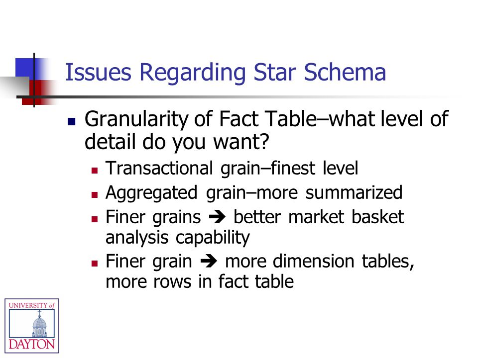 Issues Regarding Star Schema