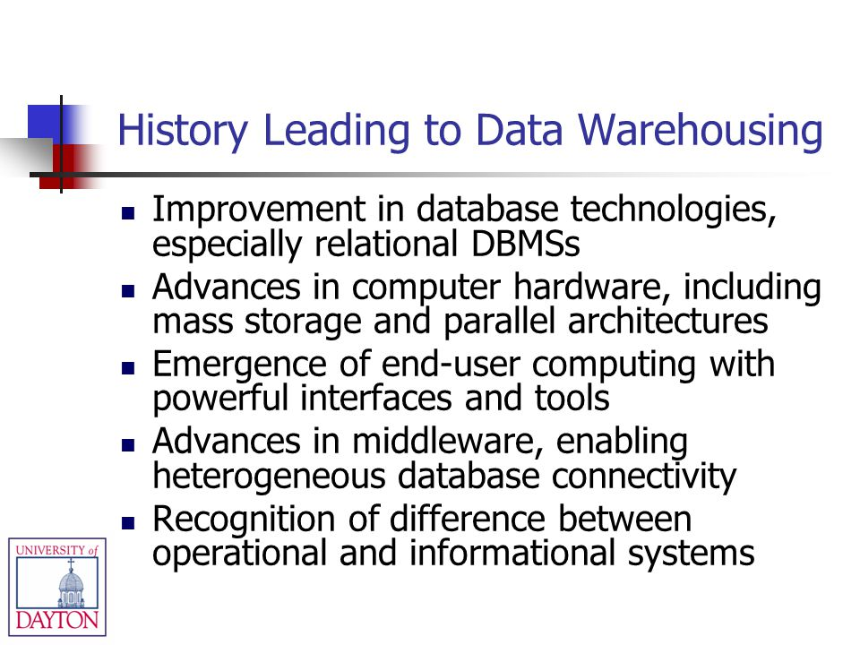 History Leading to Data Warehousing