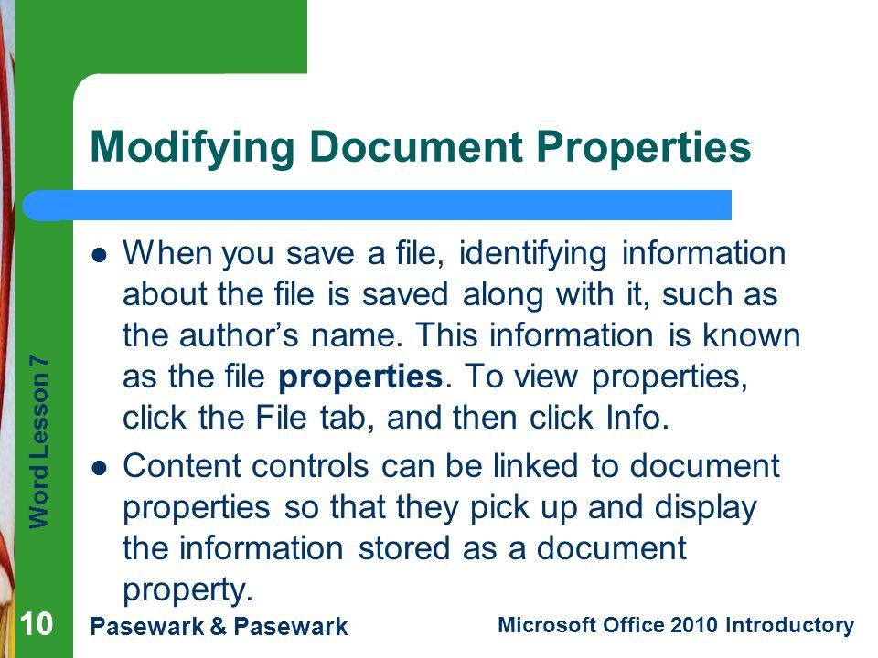 Modifying Document Properties