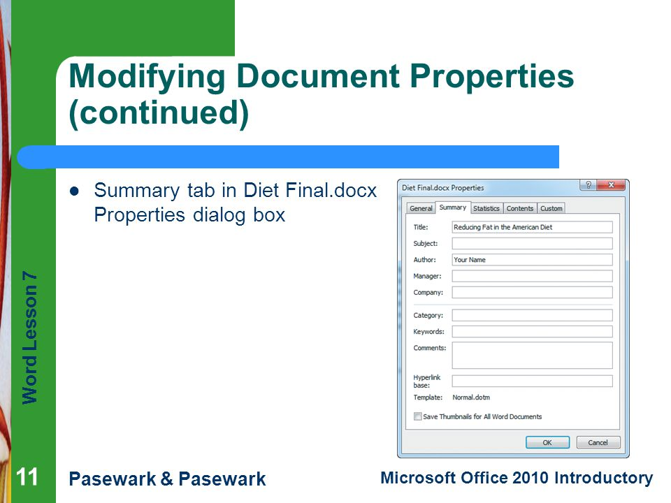 Modifying Document Properties (continued)