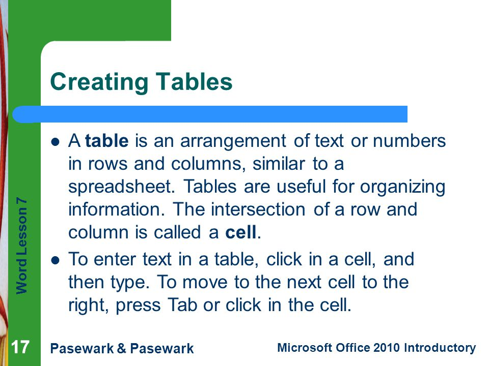 Creating Tables