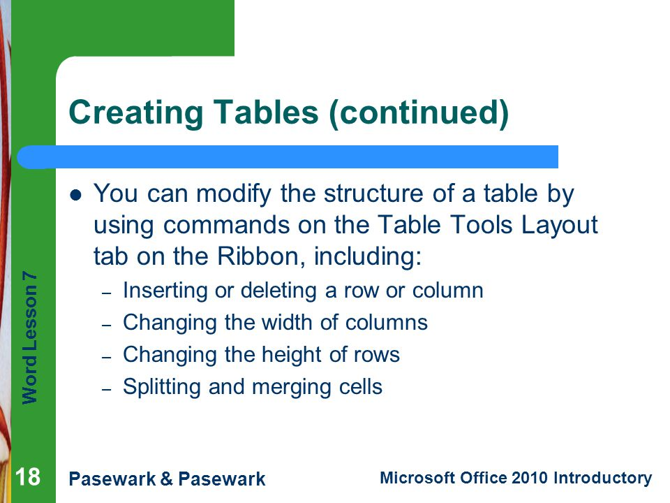 Creating Tables (continued)