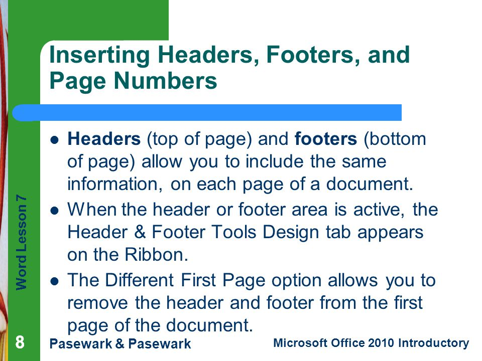 Inserting Headers, Footers, and Page Numbers
