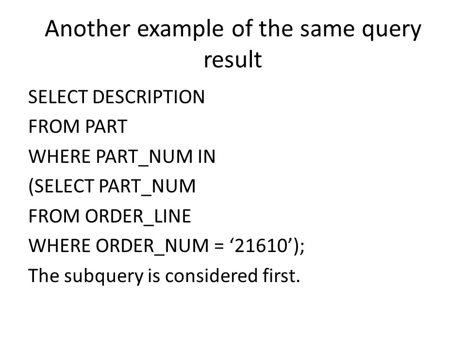 Another example of the same query result