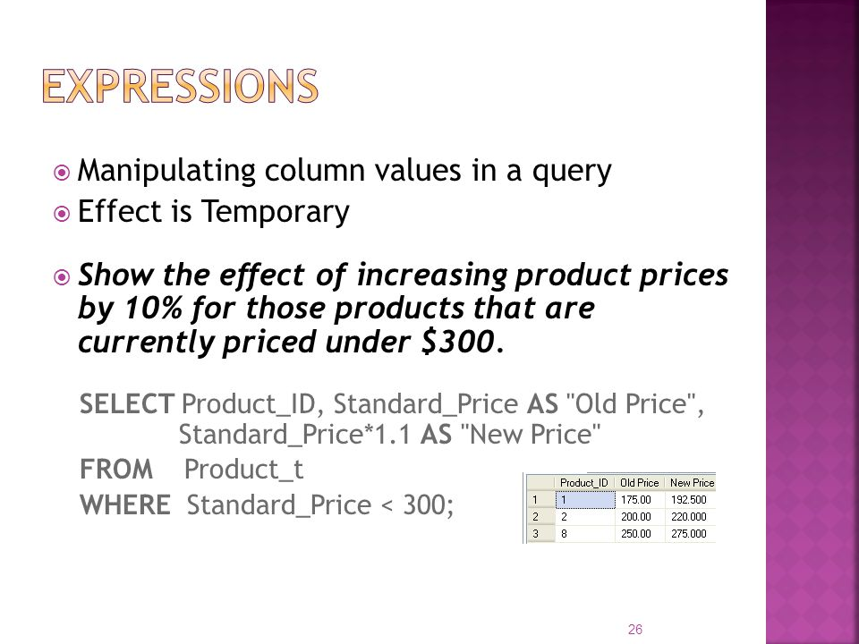 Expressions Manipulating column values in a query Effect is Temporary