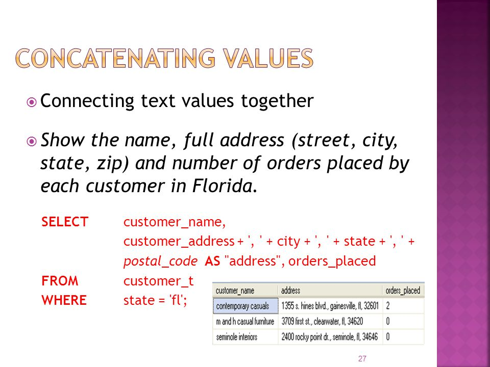 Concatenating values Connecting text values together