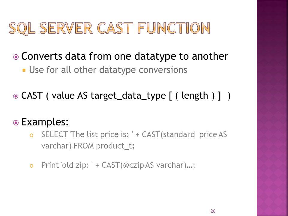 Sql server cast function