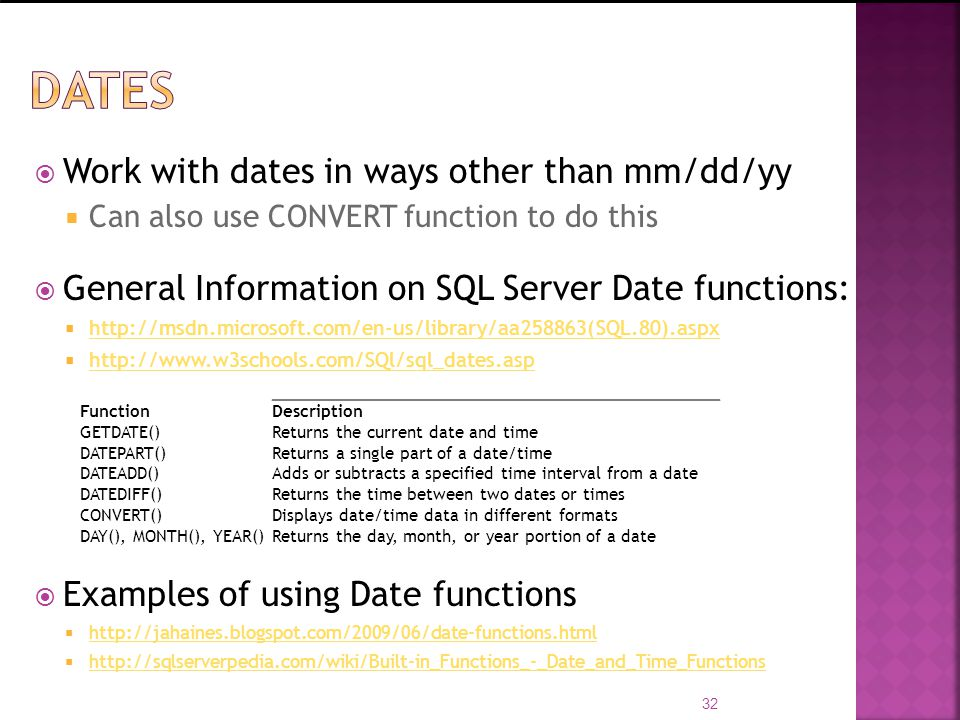 DATES Work with dates in ways other than mm/dd/yy