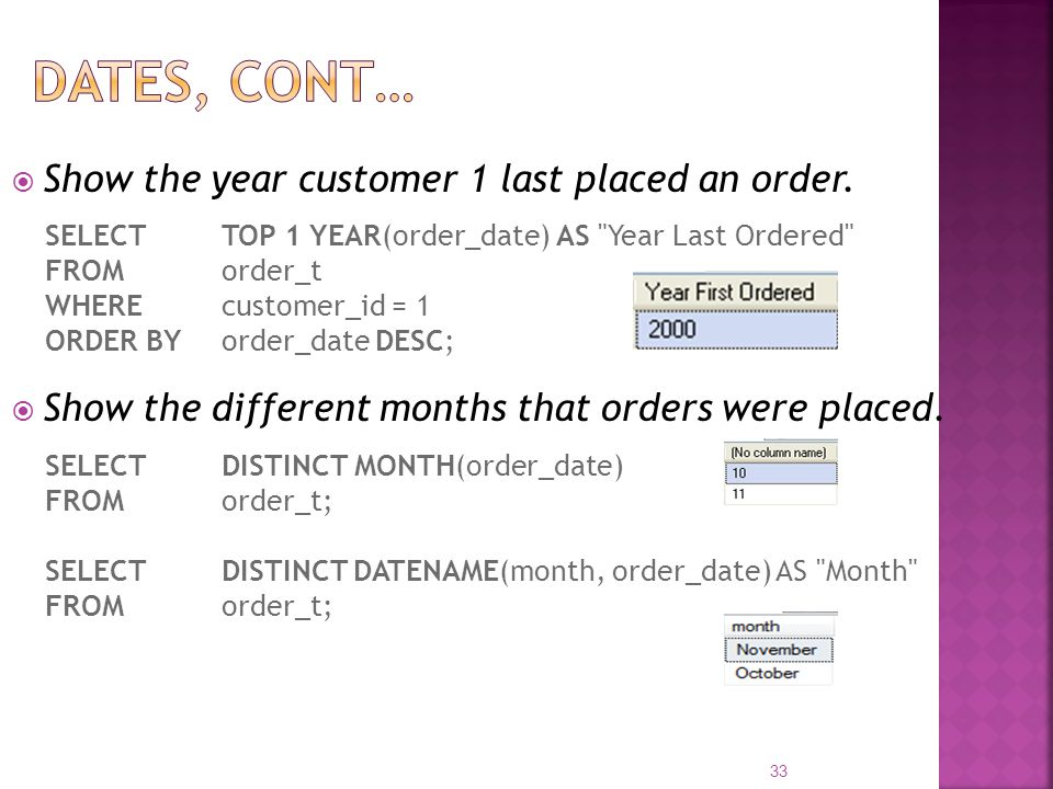 Dates, cont… Show the year customer 1 last placed an order.