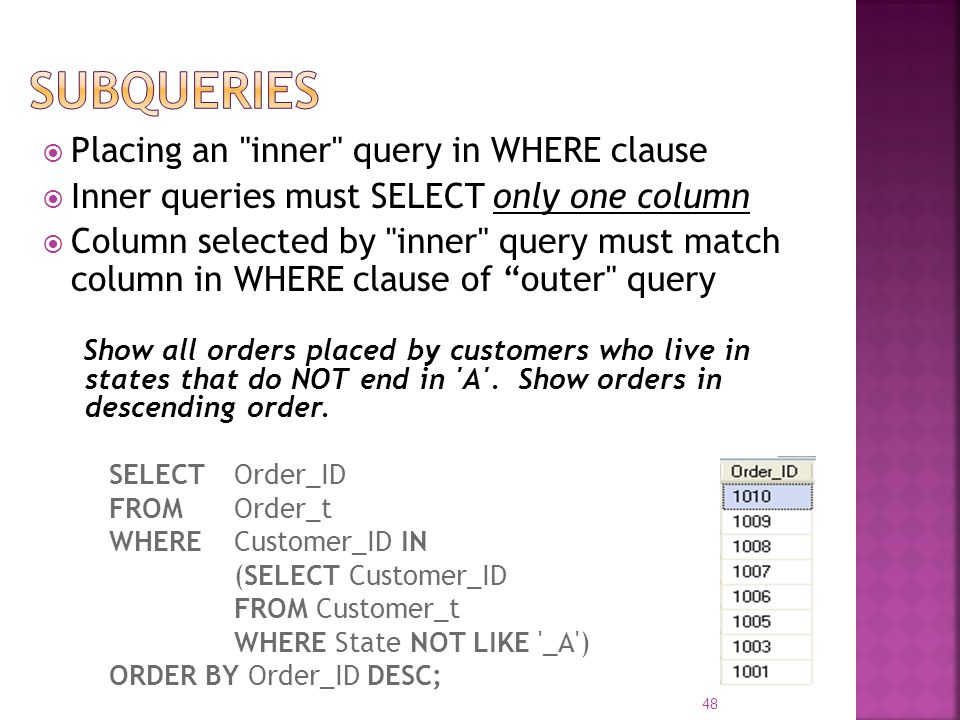 subqueries Placing an inner query in WHERE clause