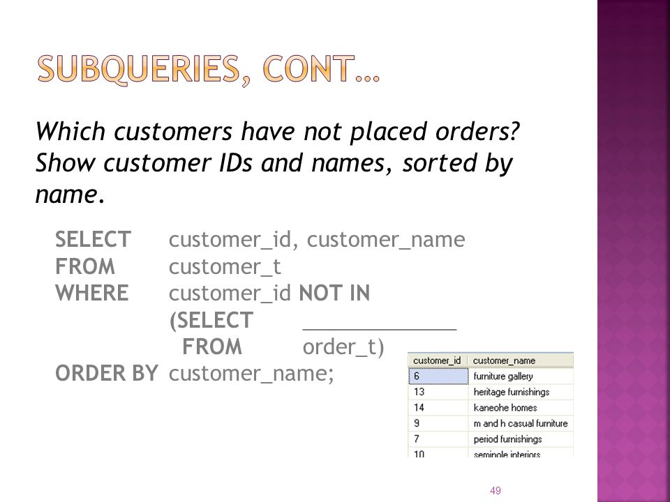 Subqueries, cont… Which customers have not placed orders Show customer IDs and names, sorted by name.