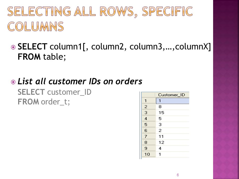 Selecting all rows, specific columns