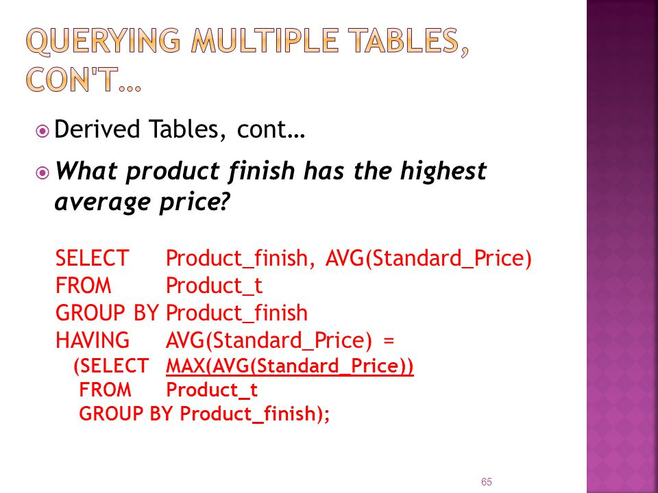 Querying Multiple Tables, con t…