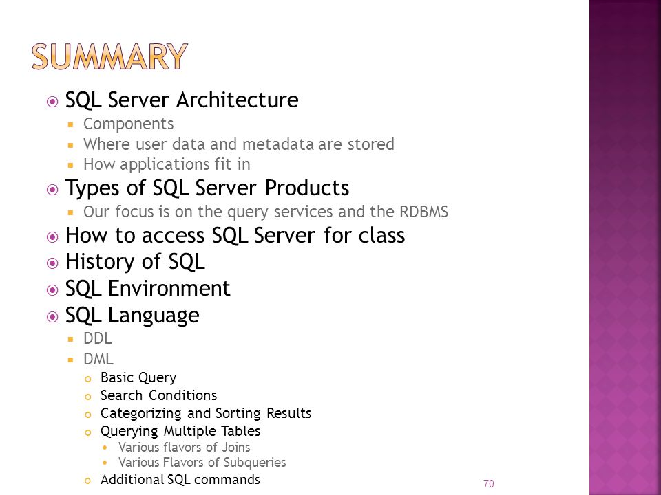 Summary SQL Server Architecture Types of SQL Server Products