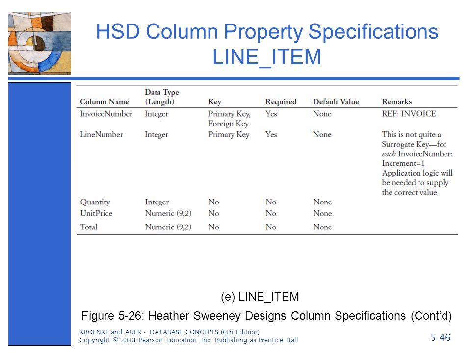 HSD Column Property Specifications LINE_ITEM