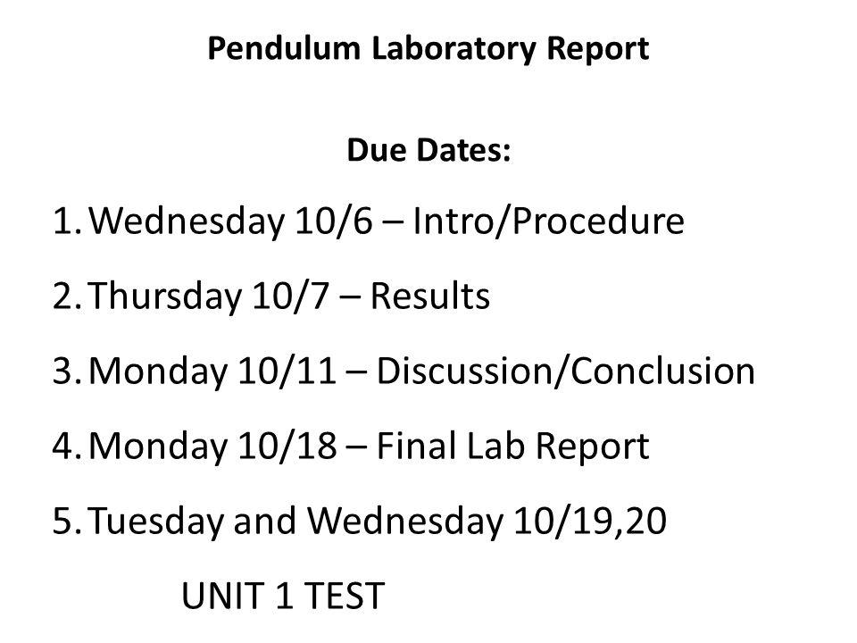 Pendulum Laboratory Report