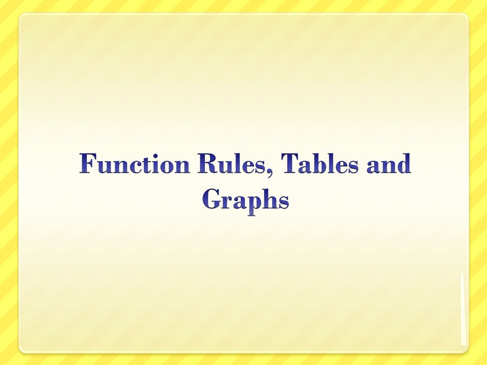 Function Rules, Tables and Graphs