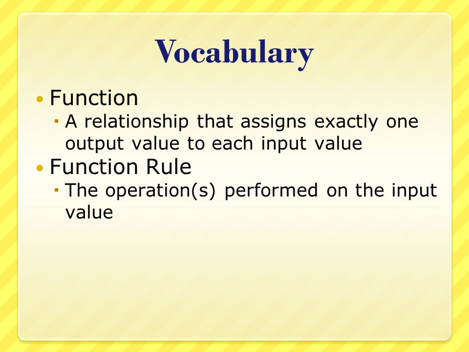 Vocabulary Function Function Rule