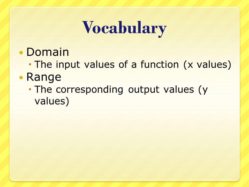 Vocabulary Domain Range The input values of a function (x values)