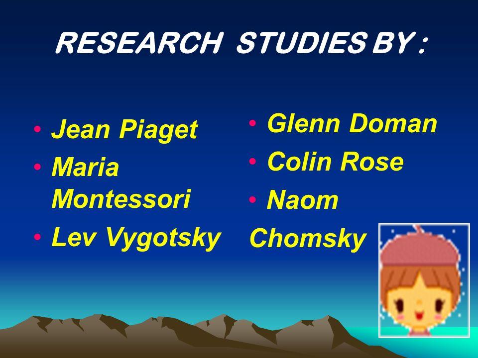 RESEARCH STUDIES BY : Jean Piaget Glenn Doman Maria Montessori