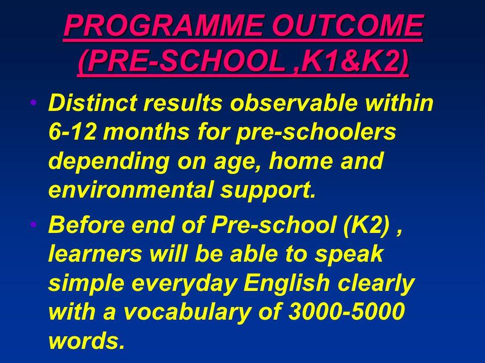 PROGRAMME OUTCOME (PRE-SCHOOL ,K1&K2)