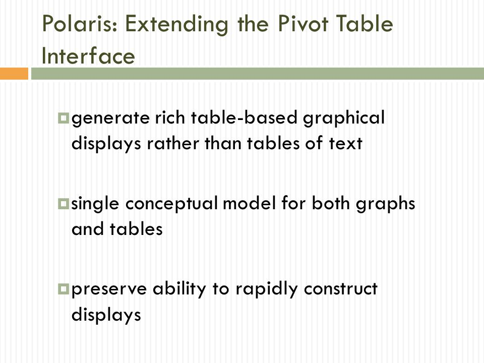 Polaris: Extending the Pivot Table Interface