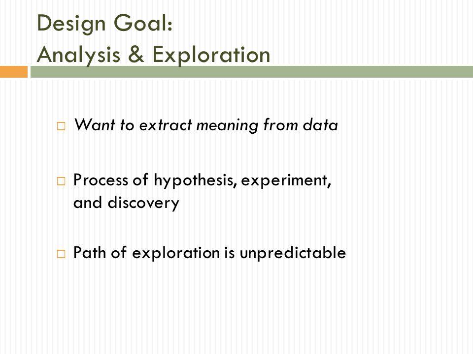 Design Goal: Analysis & Exploration