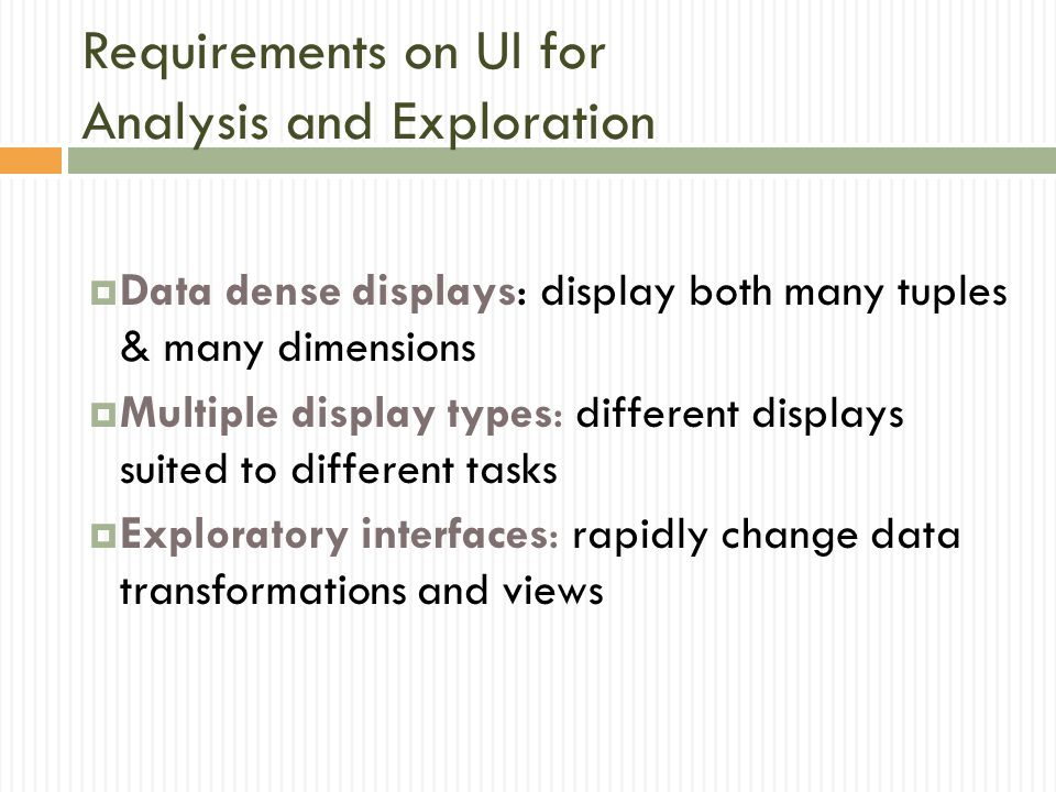 Requirements on UI for Analysis and Exploration