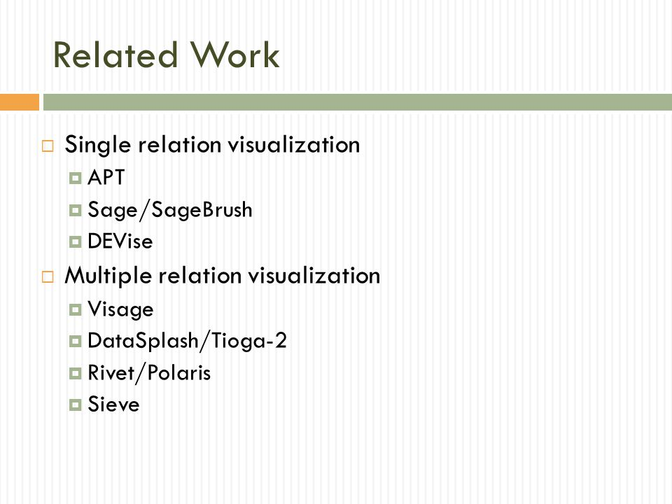 Related Work Single relation visualization