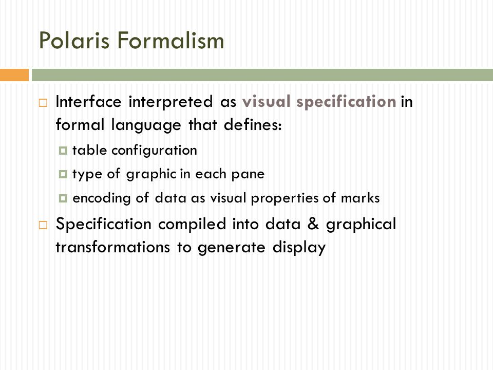 Polaris Formalism Interface interpreted as visual specification in formal language that defines: table configuration.
