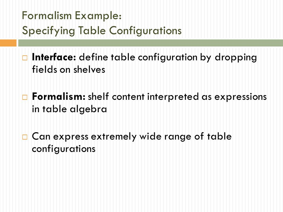 Formalism Example: Specifying Table Configurations