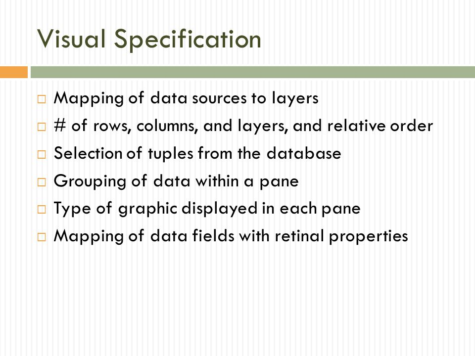 Visual Specification Mapping of data sources to layers