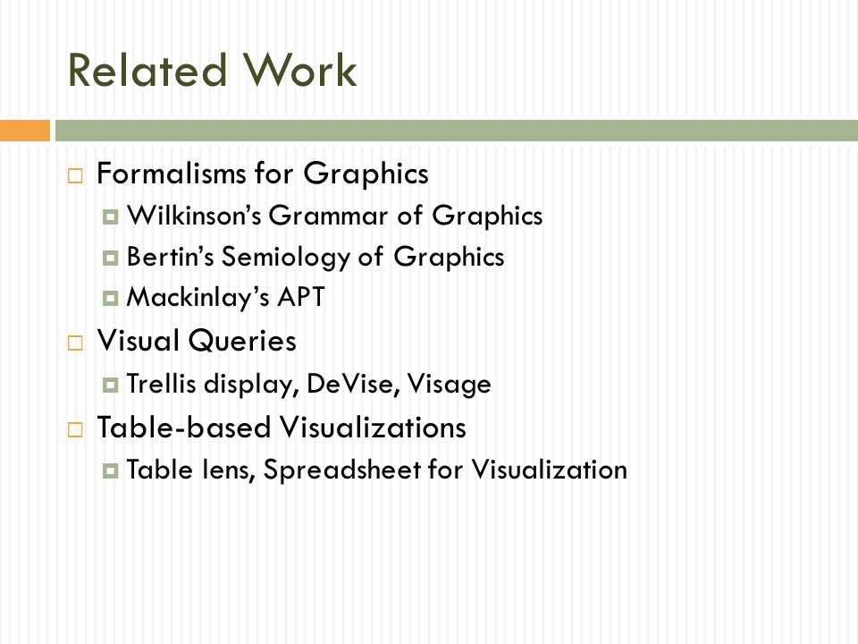 Related Work Formalisms for Graphics Visual Queries