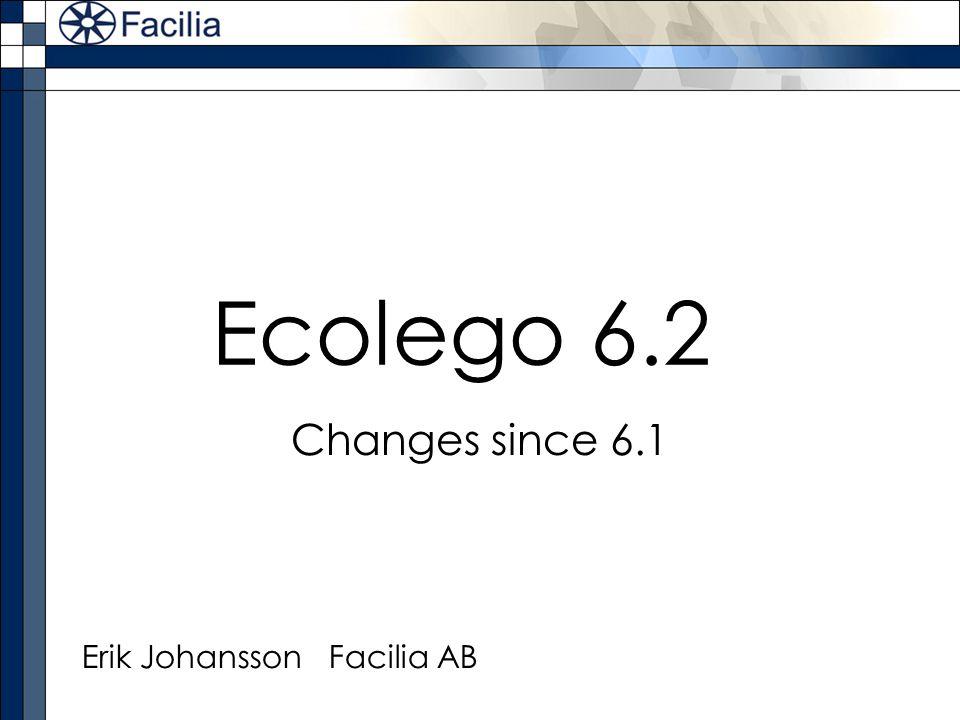 Ecolego 6.2 Changes since 6.1 Erik Johansson Facilia AB