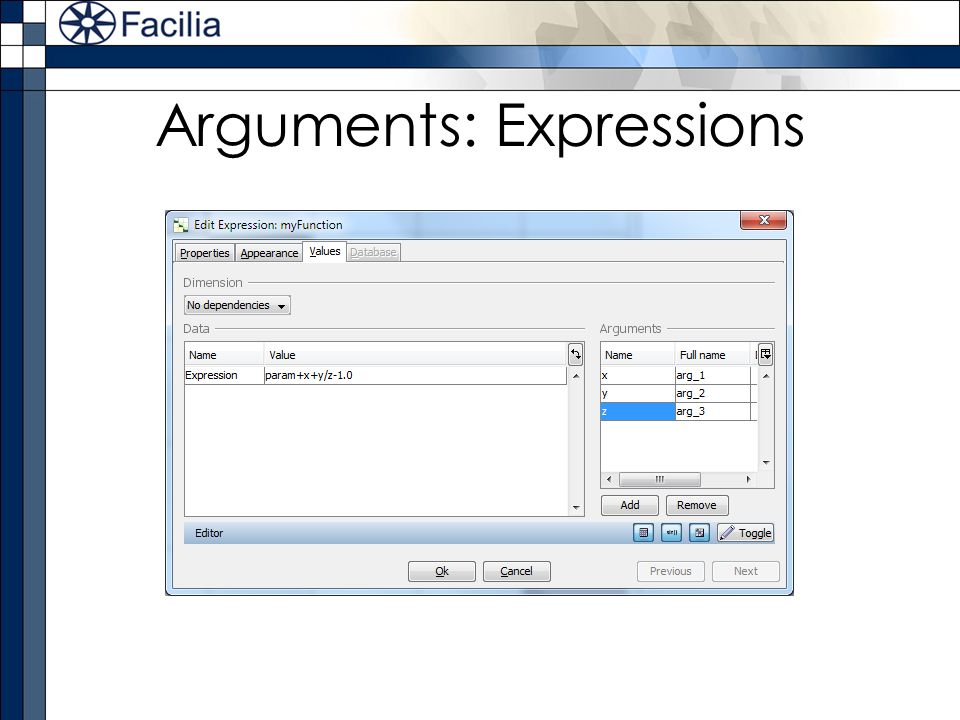 Arguments: Expressions