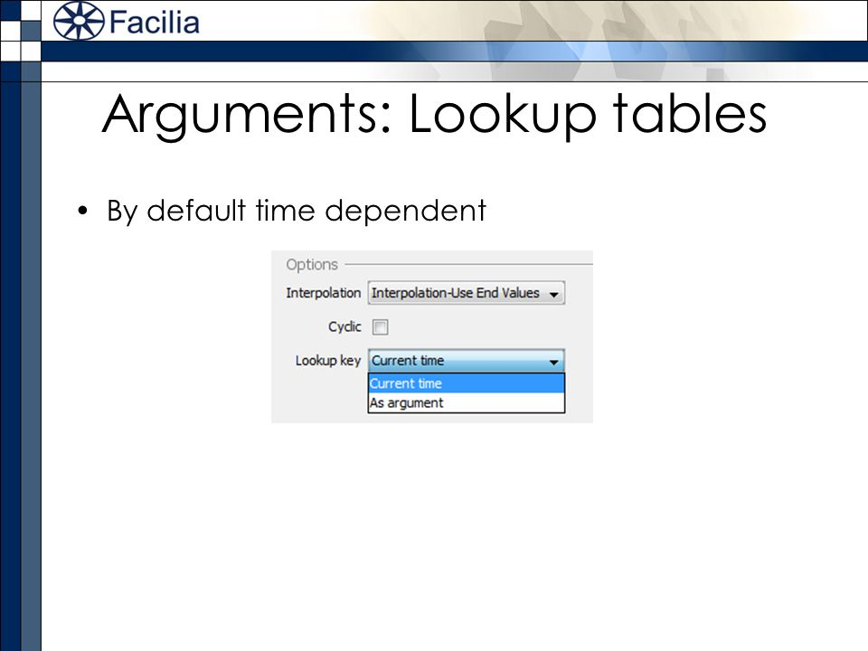 Arguments: Lookup tables