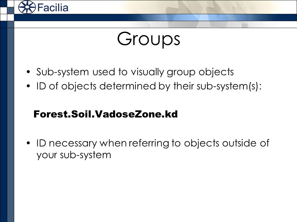 Groups Sub-system used to visually group objects