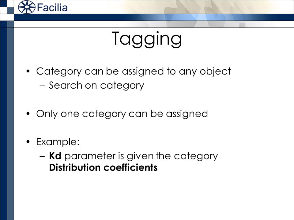 Tagging Category can be assigned to any object Search on category