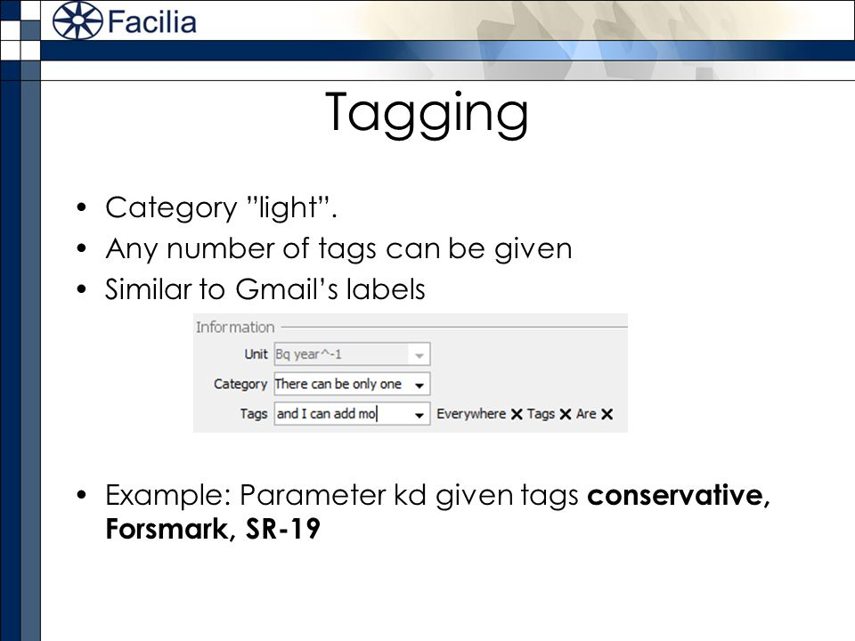 Tagging Category light . Any number of tags can be given